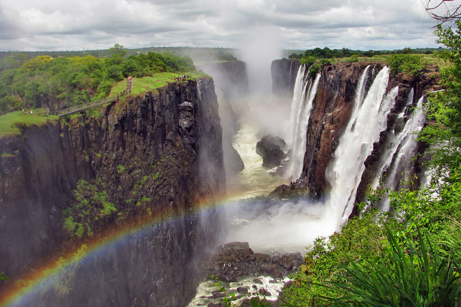 Overview of Victoria Falls with rainbow